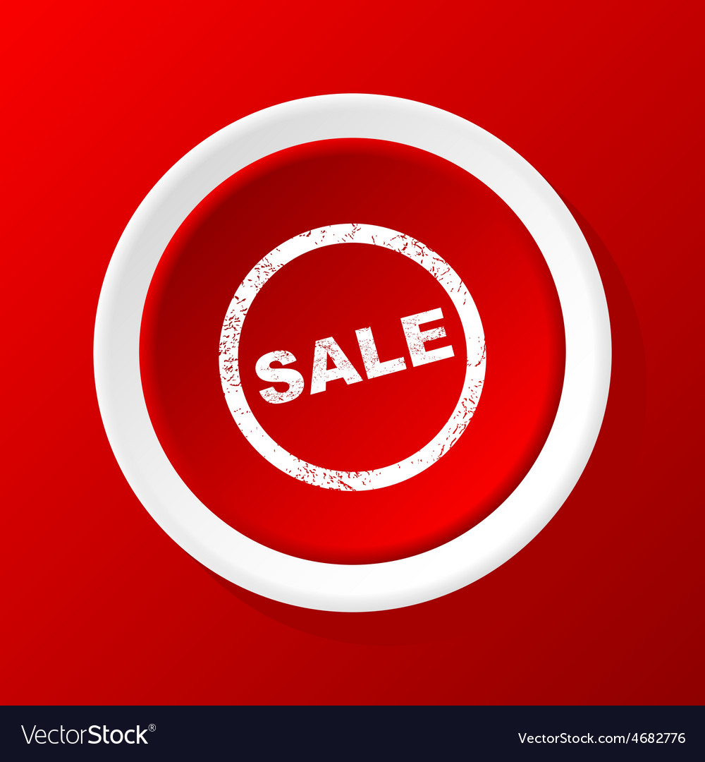 Sale icon on red vector | Price: 1 Credit (USD $1)