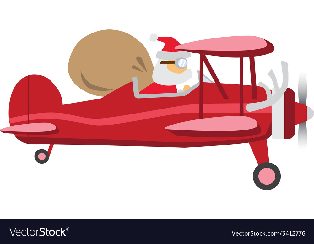Santa ride plane vector | Price: 1 Credit (USD $1)