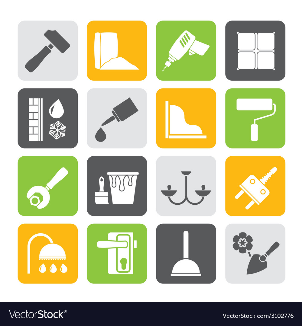 Silhouette construction and building equipment vector | Price: 1 Credit (USD $1)