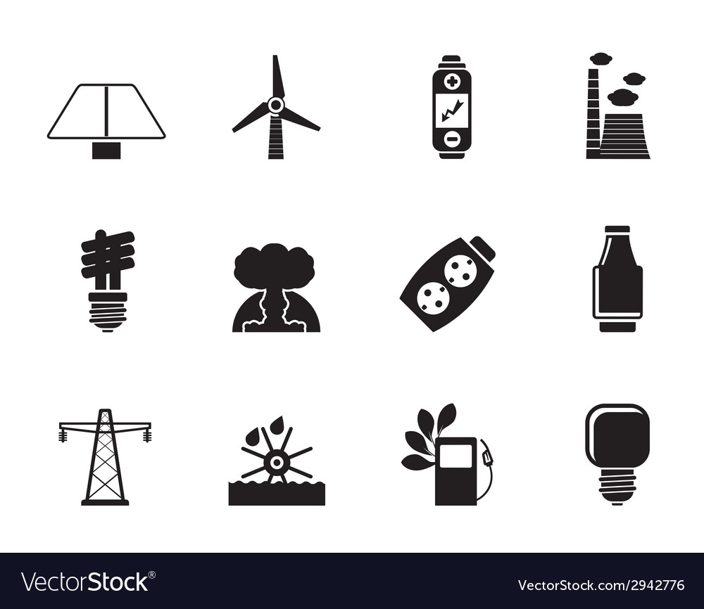 Silhouette energy and electricity icons vector | Price: 1 Credit (USD $1)