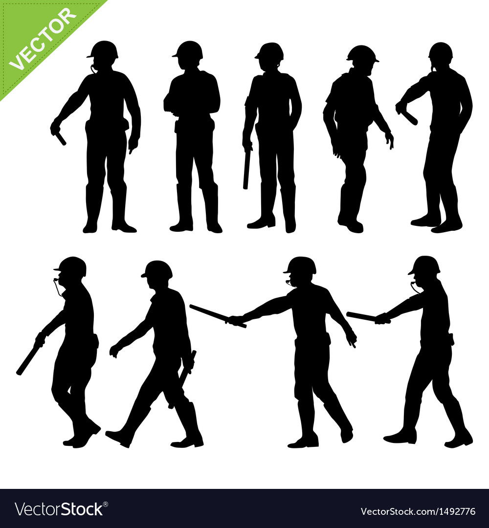 Traffic police silhouettes vector | Price: 1 Credit (USD $1)