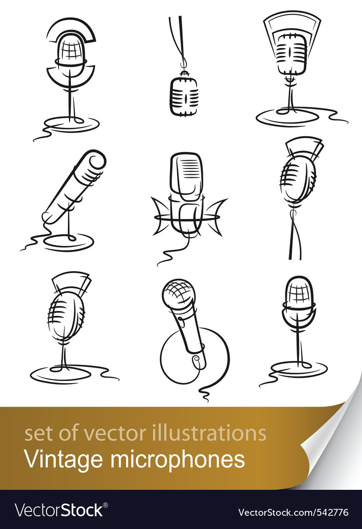 Vintage microphones vector | Price: 1 Credit (USD $1)