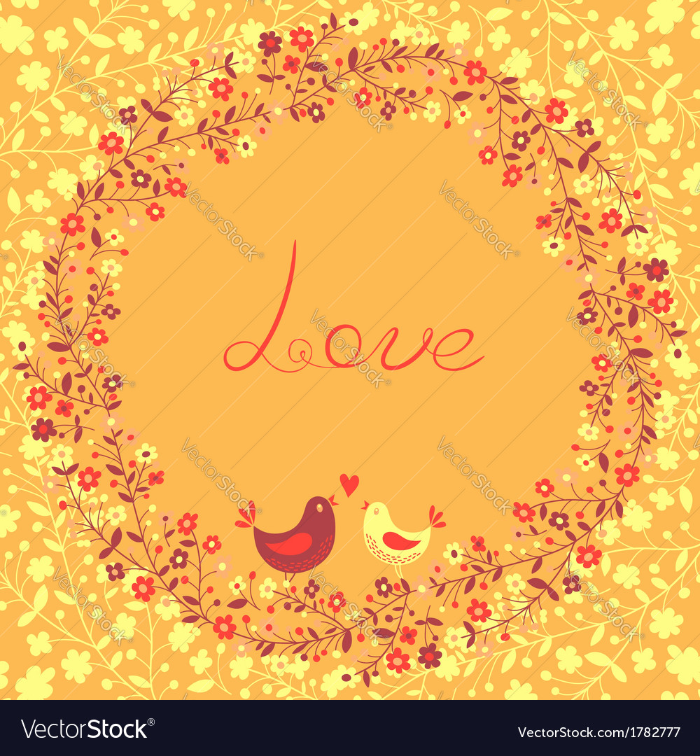 Beautiful greeting card with flowers and birds vector | Price: 1 Credit (USD $1)