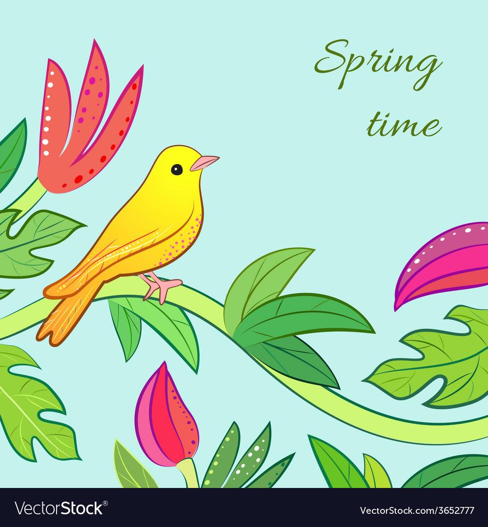 Bright yellow orange little tropical forest bird vector | Price: 1 Credit (USD $1)