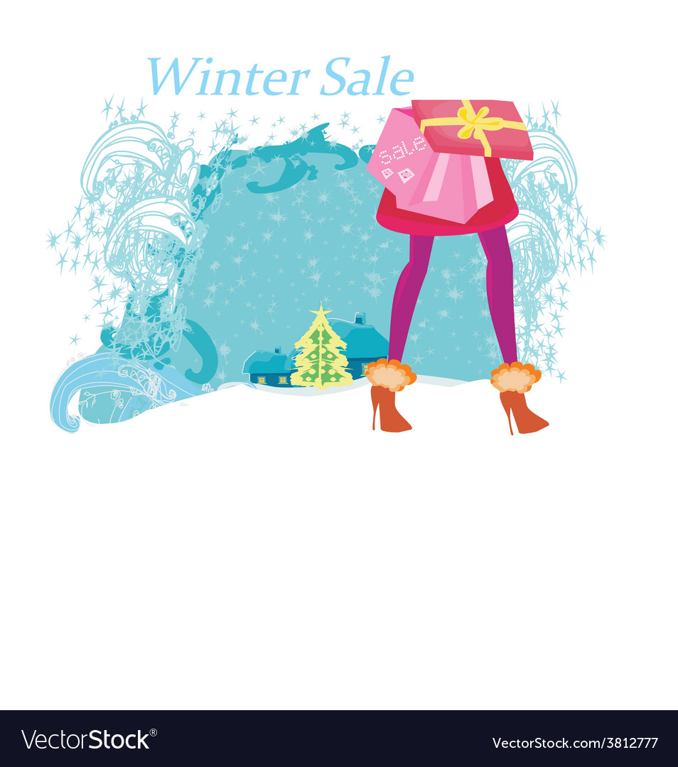 Christmas shopping - winter sale card vector | Price: 1 Credit (USD $1)
