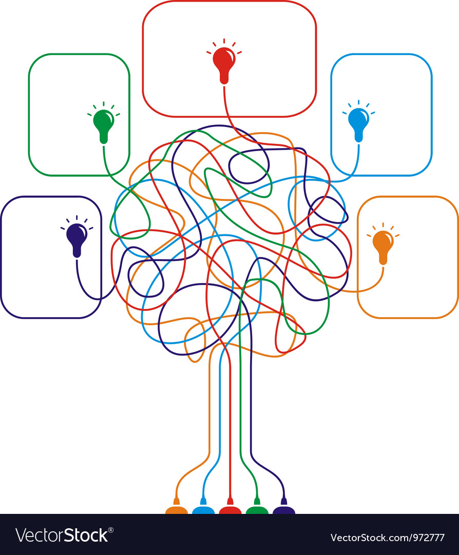 Concept of colorful tree with bulbs vector | Price: 1 Credit (USD $1)