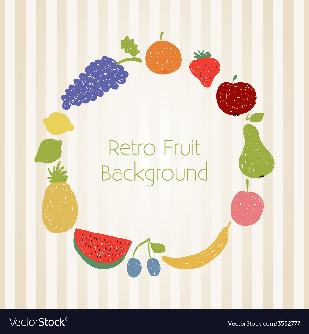 Doodle fruit circle in retro colors vector | Price: 1 Credit (USD $1)