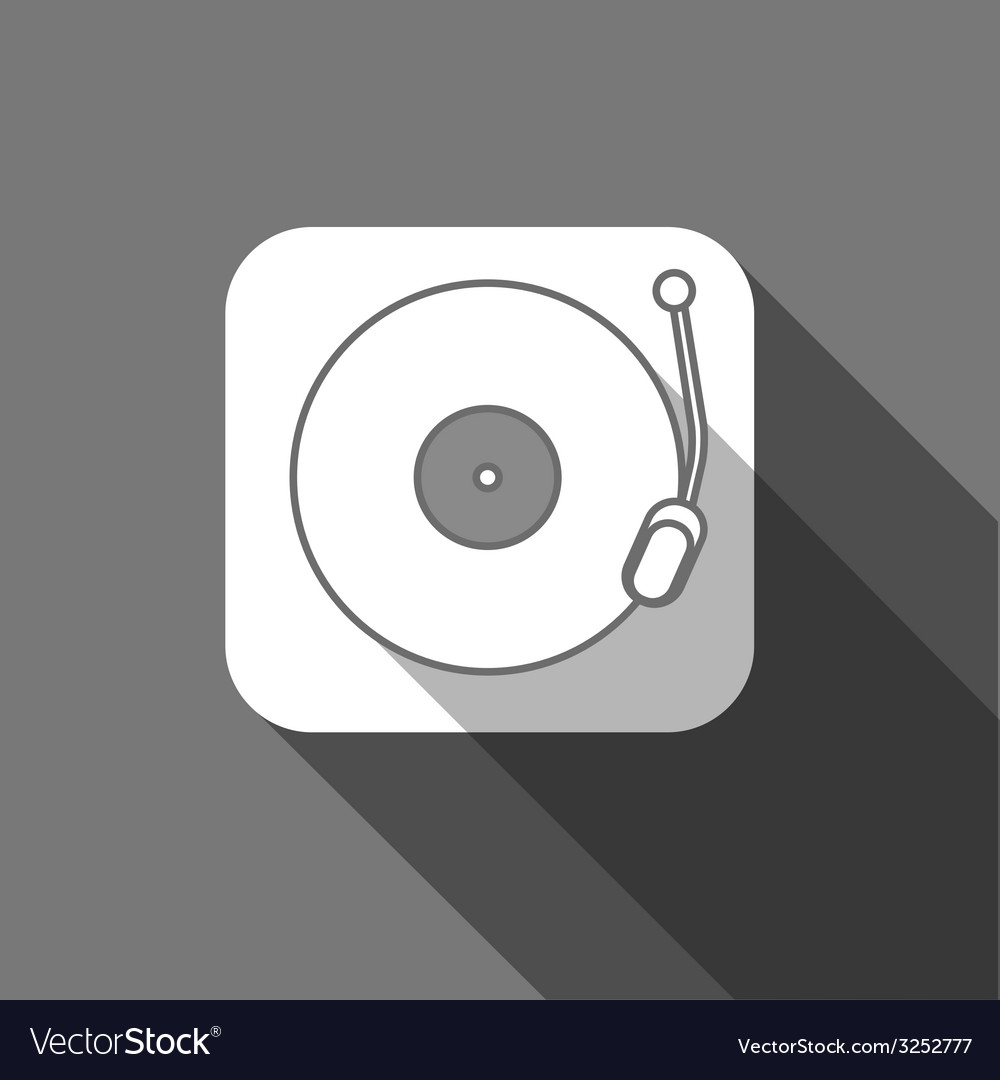 Flat long shadow trendy record player icon vector | Price: 1 Credit (USD $1)