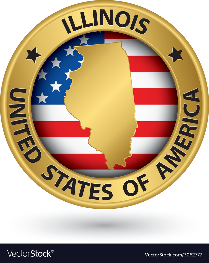 Illinois state gold label with state map vector | Price: 1 Credit (USD $1)
