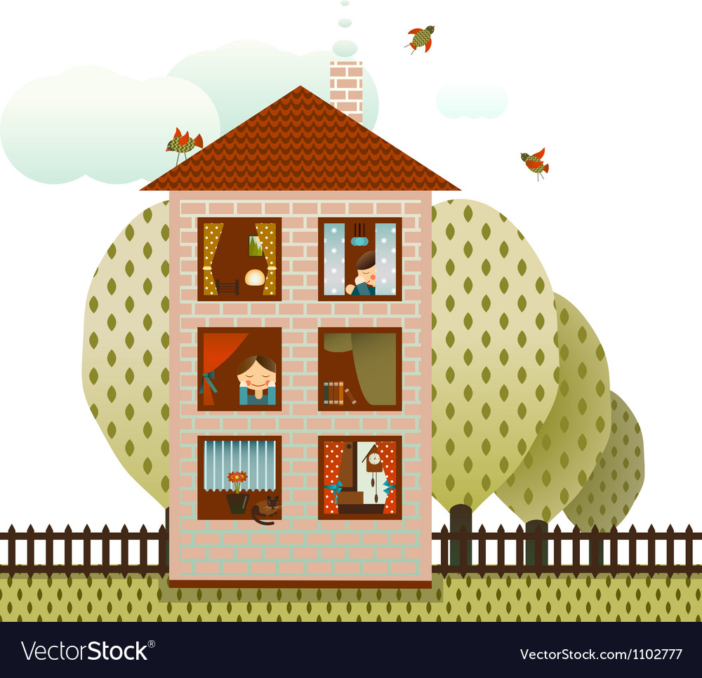 Neighbors in the village house vector | Price: 3 Credit (USD $3)