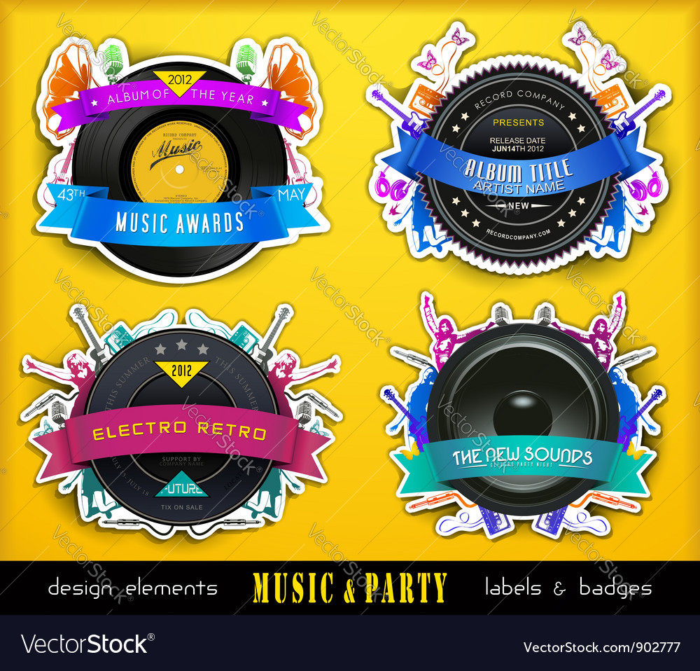 Retro music badge labels vector | Price: 3 Credit (USD $3)