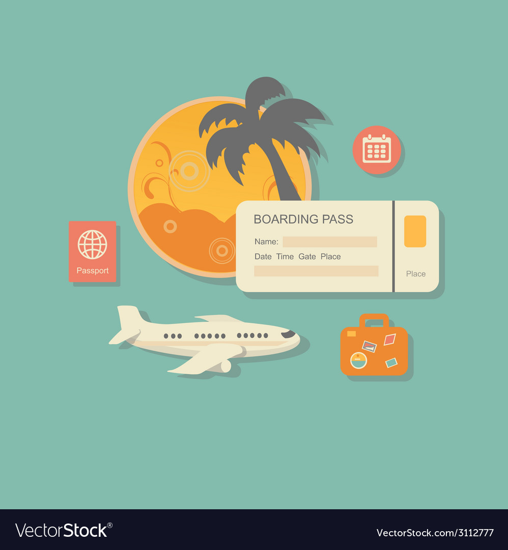 Style modern concept of planning a summer vacation vector | Price: 1 Credit (USD $1)