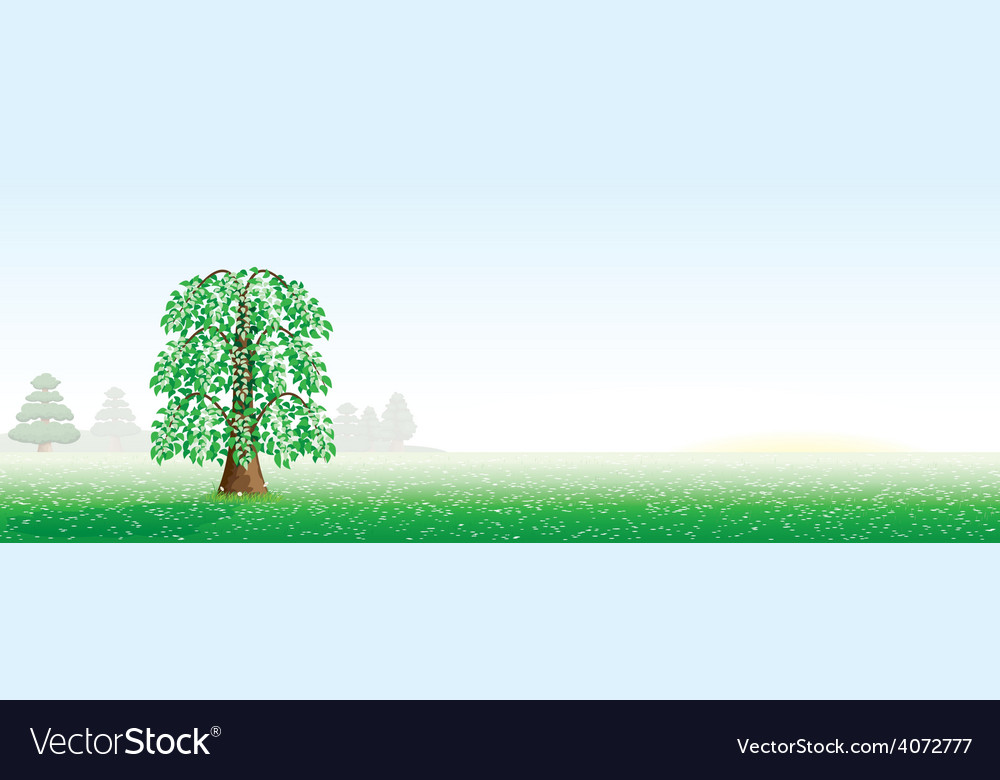 Summer landscape with a tree vector | Price: 1 Credit (USD $1)