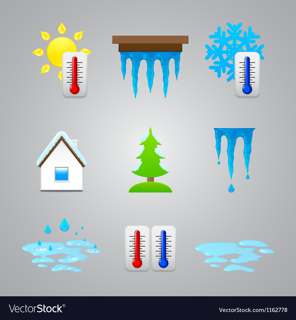 Different temperature color icons vector