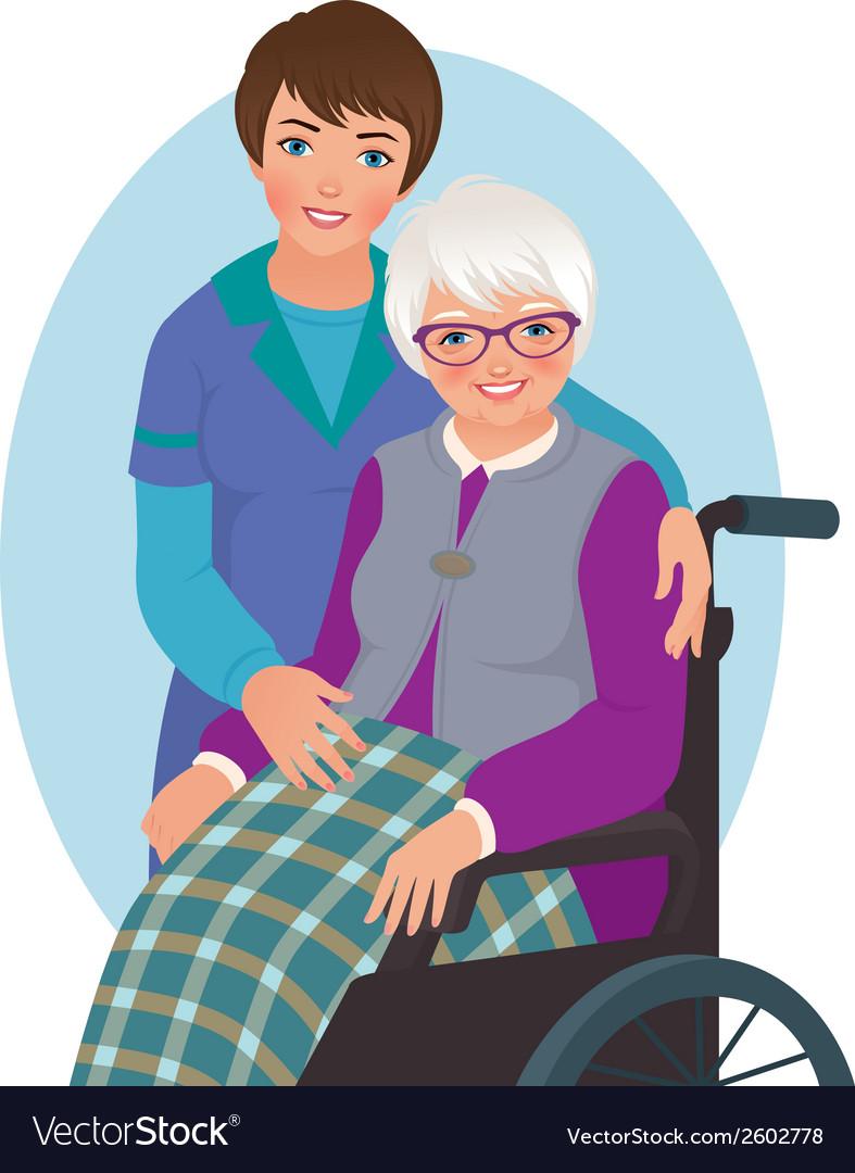 Elderly woman and nurse vector   Price: 1 Credit (USD $1)