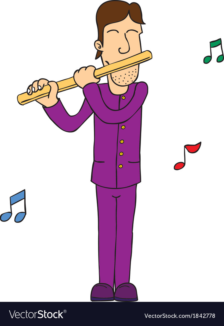 Man playing flute vector | Price: 1 Credit (USD $1)