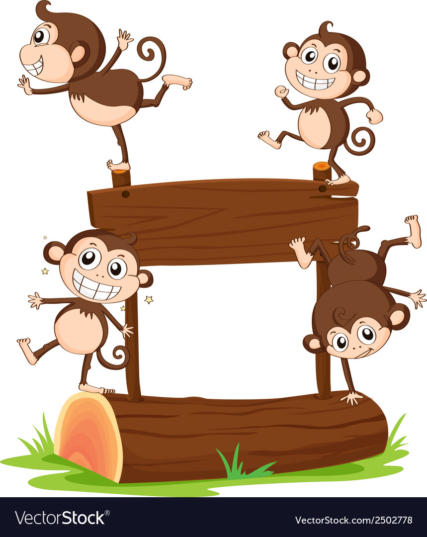 Monkeys playing with the empty signboard vector | Price: 1 Credit (USD $1)