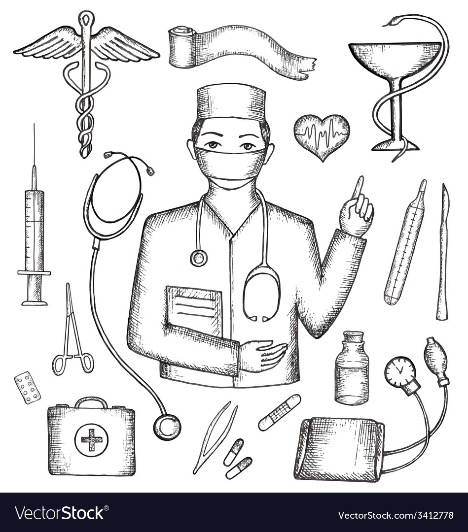 Set of medical supplies hand-drawn vector | Price: 1 Credit (USD $1)