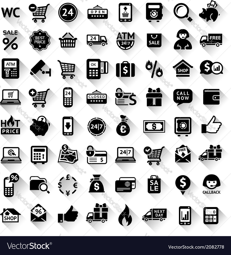 Shopping set flat black icons vector | Price: 1 Credit (USD $1)
