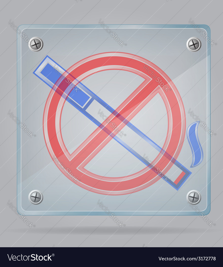 Transparent sign no smoking on the plate vector | Price: 1 Credit (USD $1)