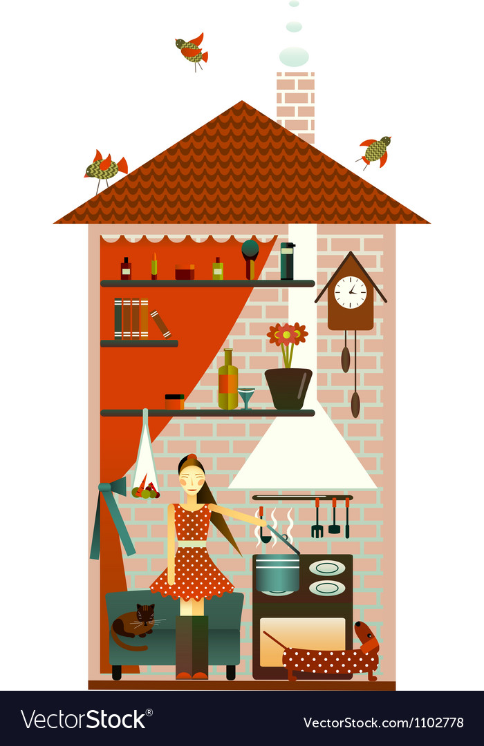 Young woman in the kitchen vector | Price: 3 Credit (USD $3)