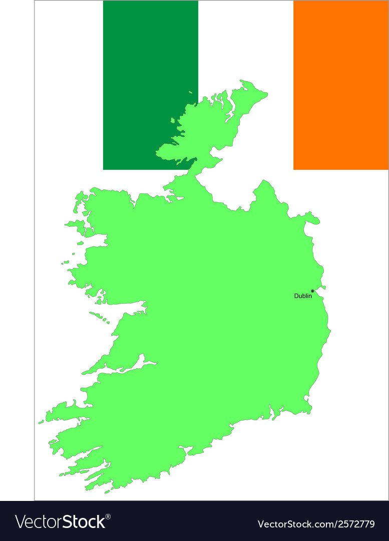 6140 ireland map and flag vector