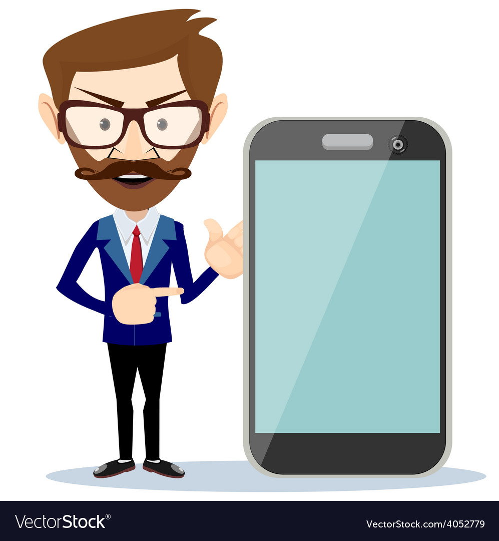 Businessman showing phone smartphone vector   Price: 1 Credit (USD $1)