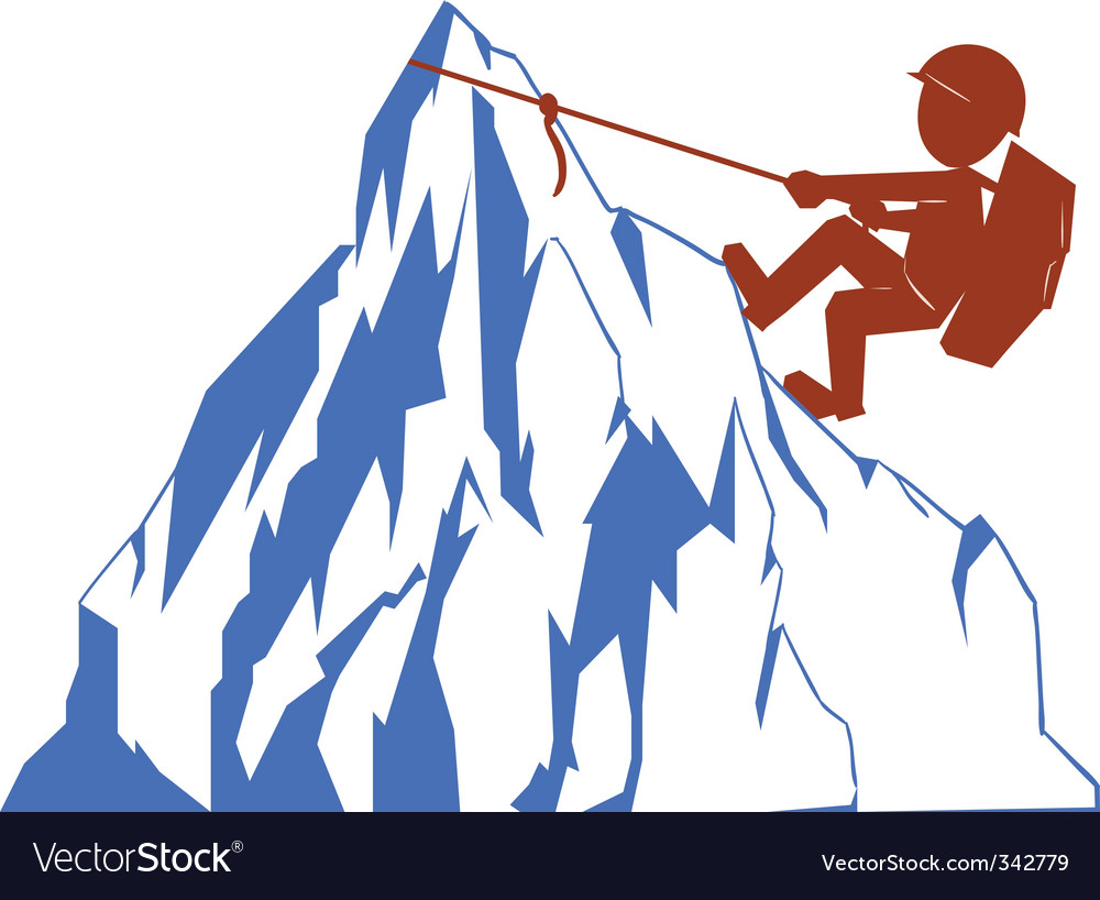 Climber and mountain vector | Price: 3 Credit (USD $3)