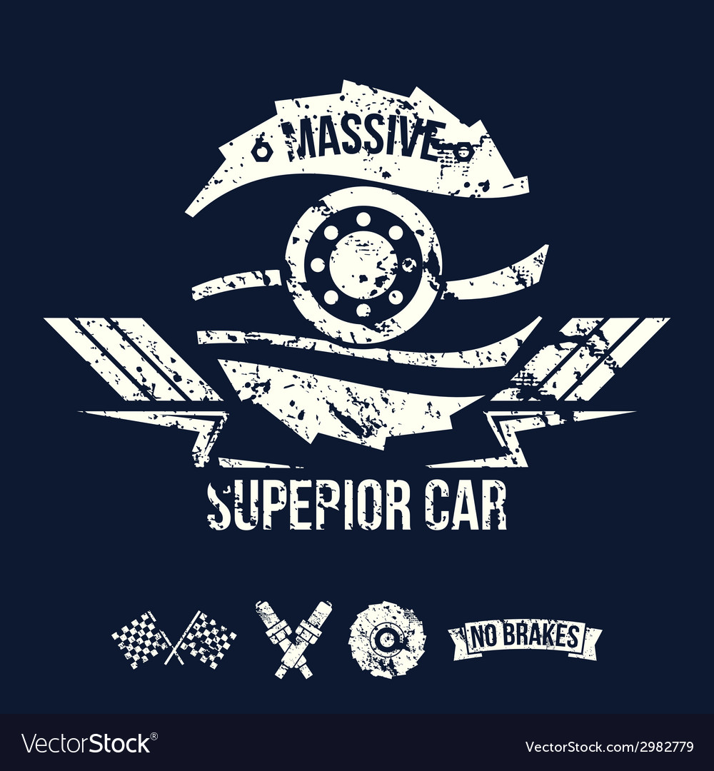 Emblem of the massive superior car in retro style vector | Price: 1 Credit (USD $1)
