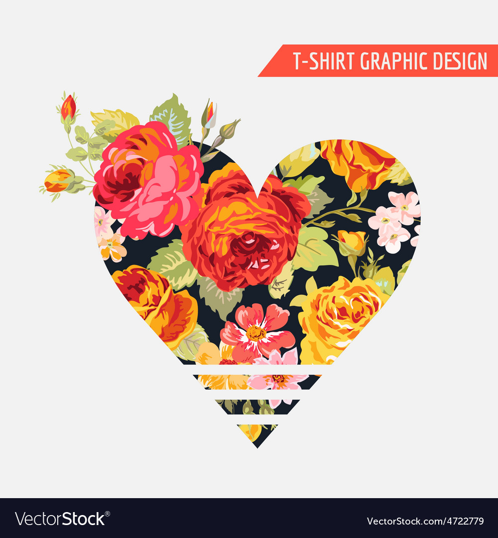 Floral heart graphic design  for tshirt fashion vector