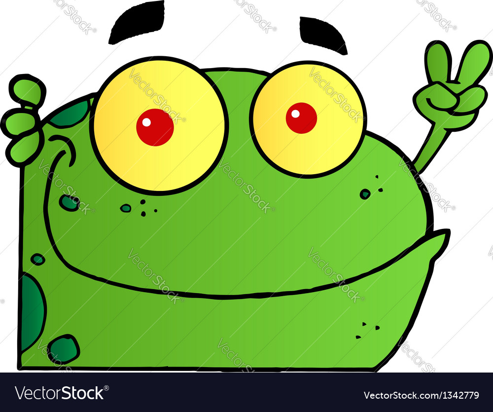 Frog gesturing the peace sign with his hand vector | Price: 1 Credit (USD $1)