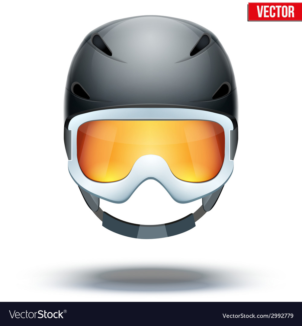 Front view of classic black ski helmet and vector | Price: 1 Credit (USD $1)