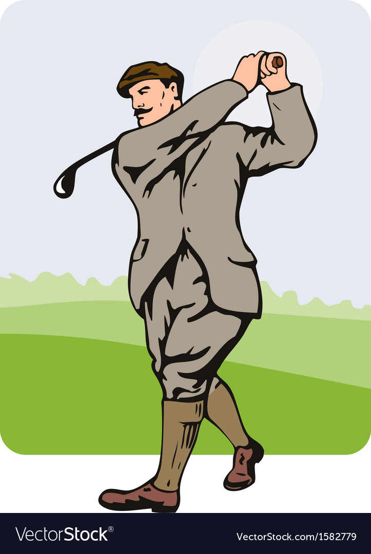 Golfer swinging vector | Price: 1 Credit (USD $1)