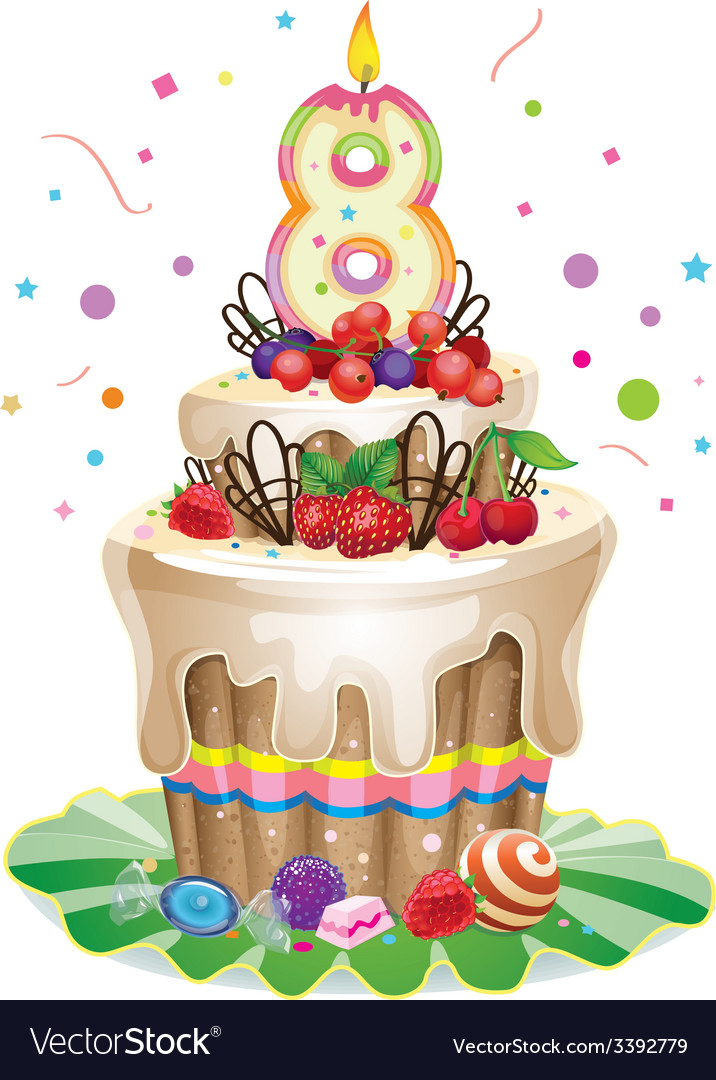 Happy birthday cake 8 vector | Price: 3 Credit (USD $3)