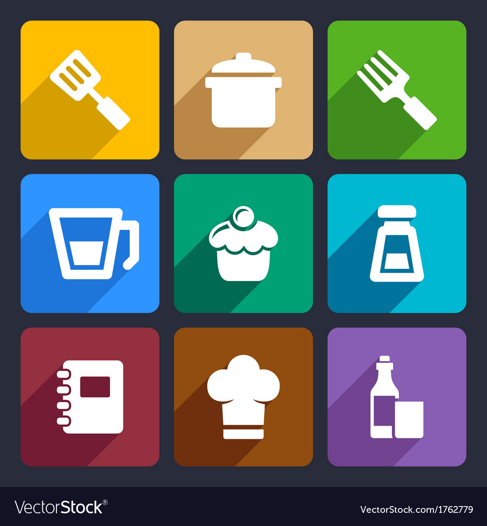 Kitchen flat icons set 24 vector | Price: 1 Credit (USD $1)