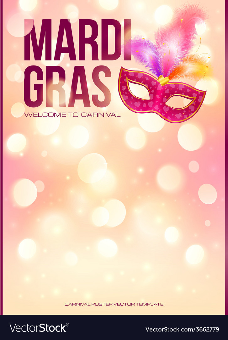 Light pink mardi gras poster template with bokeh vector | Price: 1 Credit (USD $1)