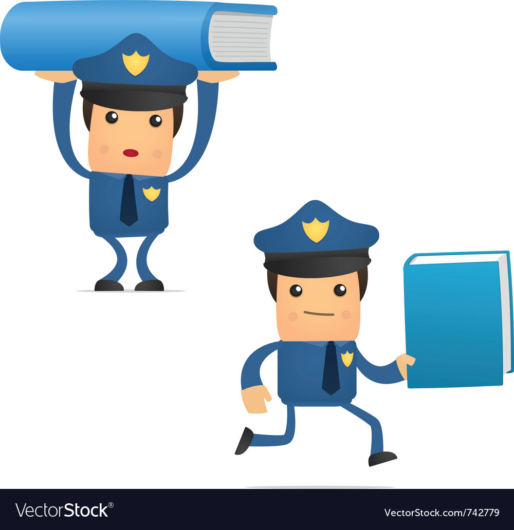 Policeman with books vector   Price: 1 Credit (USD $1)