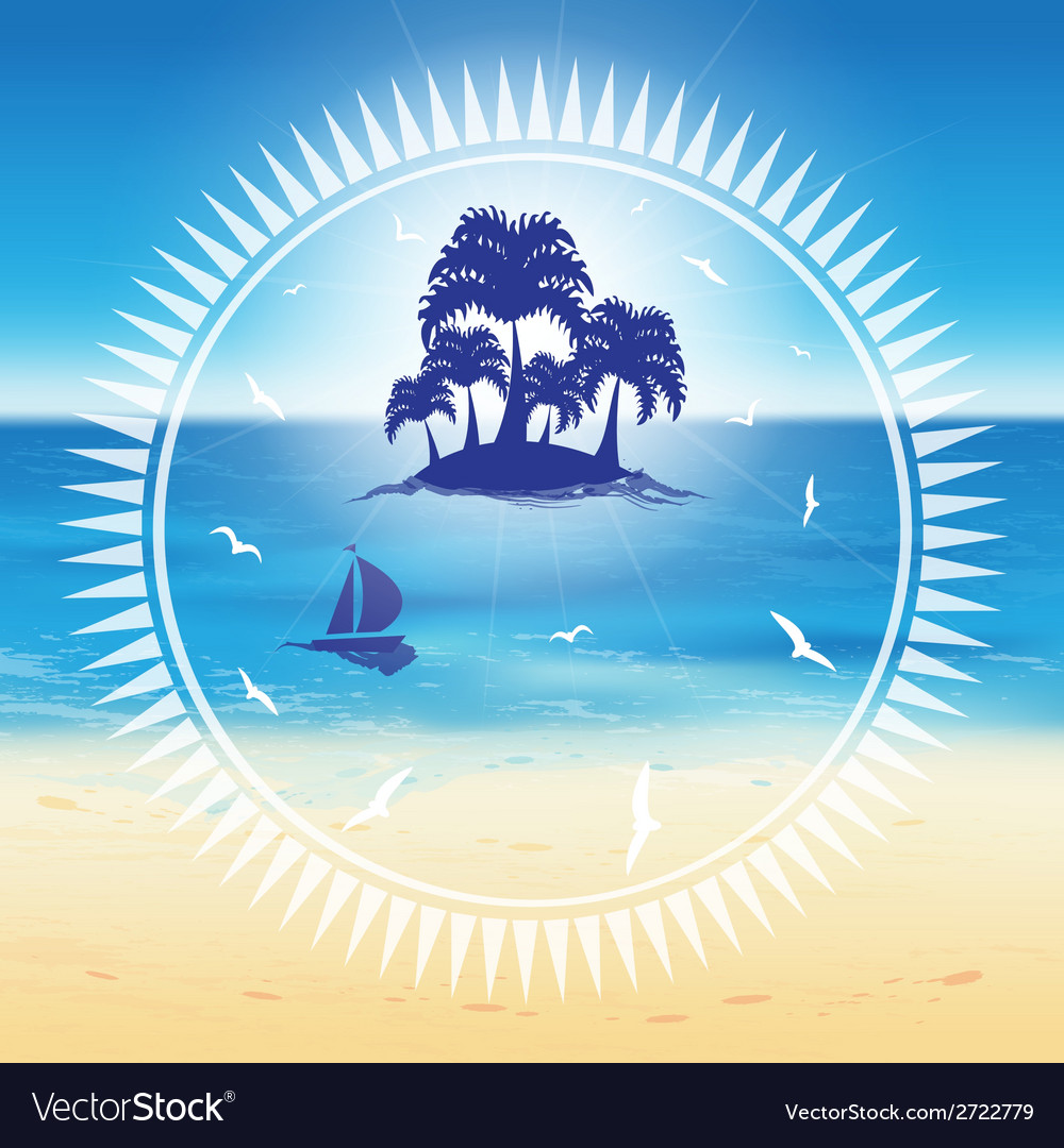 Sand beach and small island vector | Price: 1 Credit (USD $1)