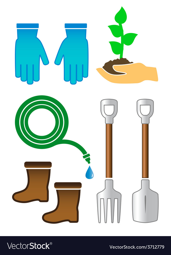 Set gardening color tools vector | Price: 1 Credit (USD $1)