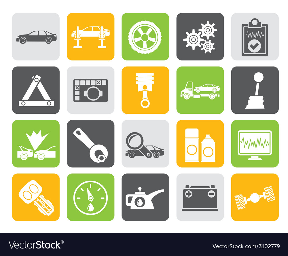 Silhouette car services and transportation icons vector | Price: 1 Credit (USD $1)