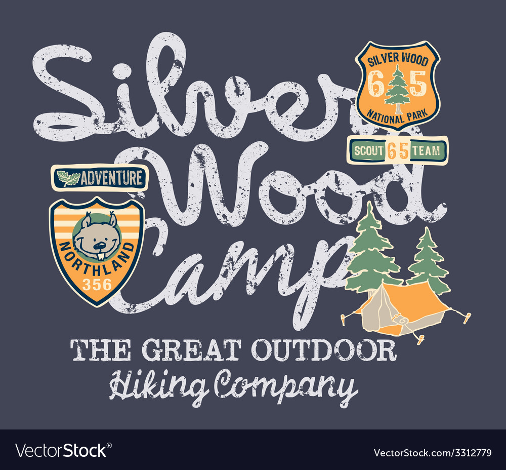 Silver wood camp hiking company vector | Price: 1 Credit (USD $1)