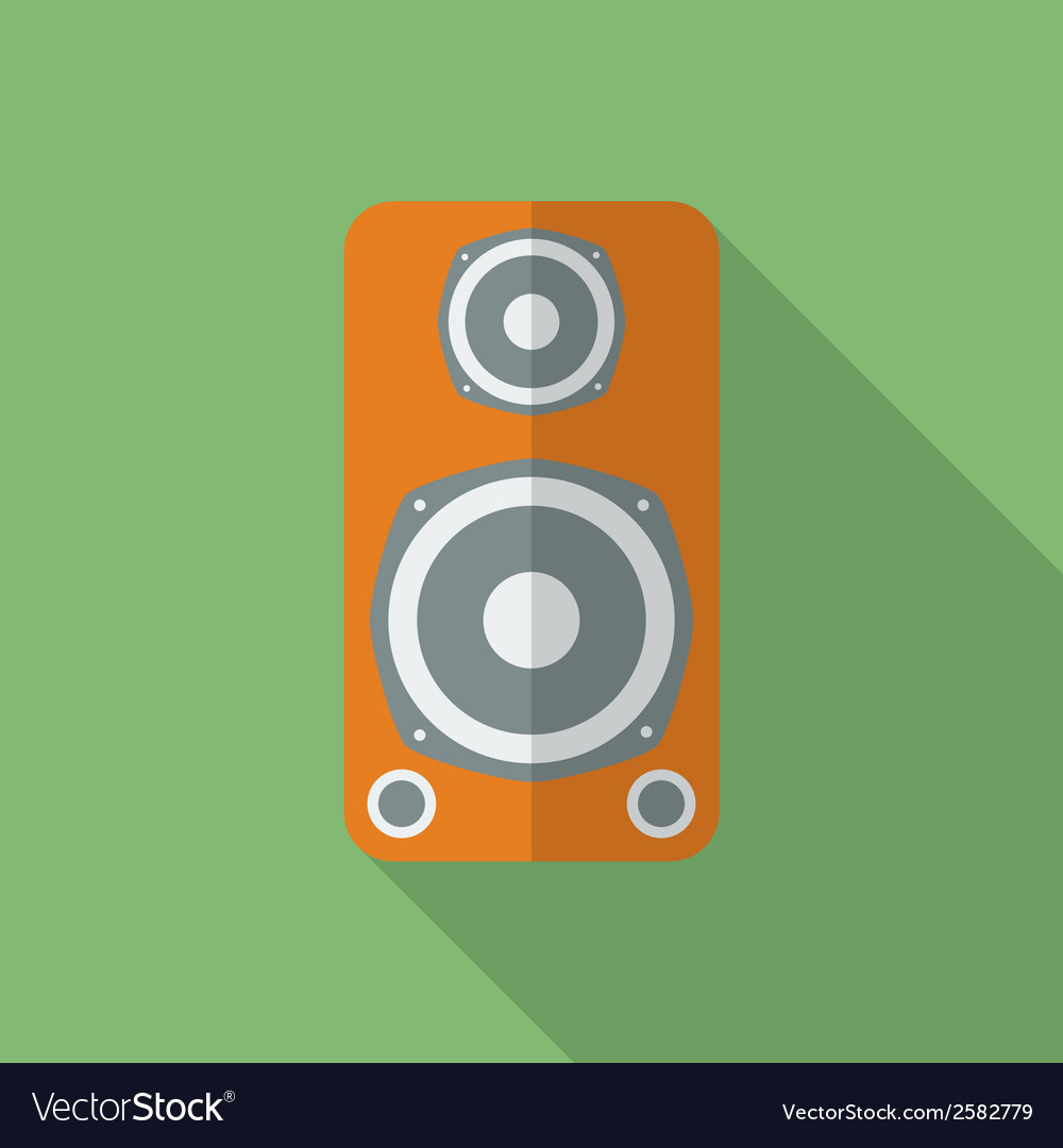 Speaker icon modern flat style with a long shadow vector | Price: 1 Credit (USD $1)