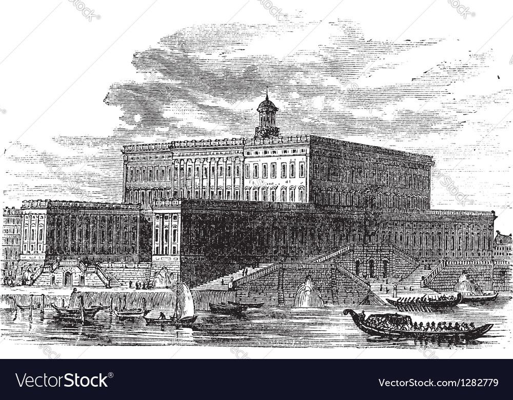 Stockholm palace vintage engraving vector   Price: 1 Credit (USD $1)