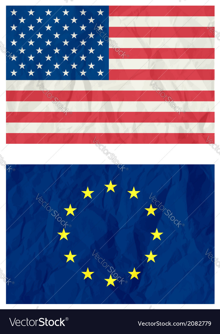 Usa and euro flag vector | Price: 1 Credit (USD $1)