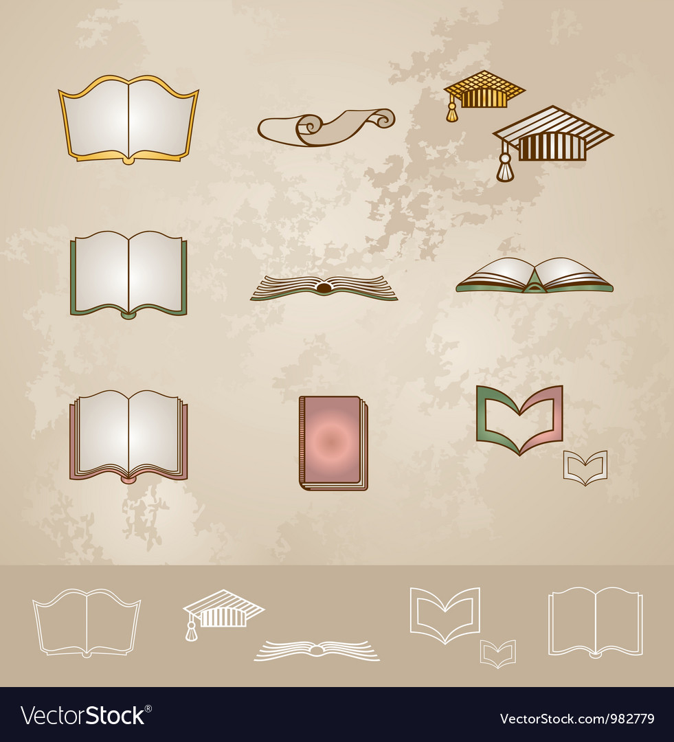 Vintage education icons set vector | Price: 1 Credit (USD $1)