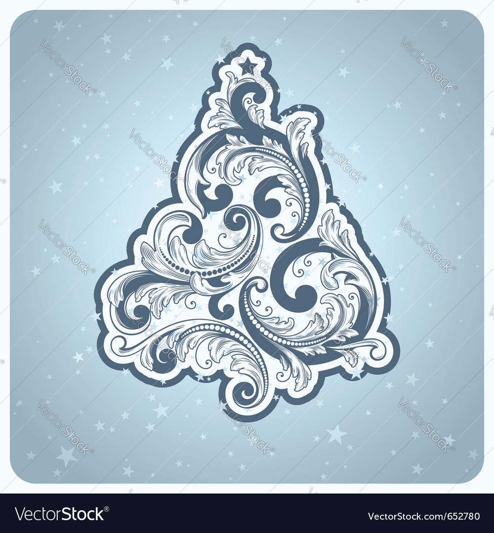 Baroque style christmas tree vector | Price: 1 Credit (USD $1)