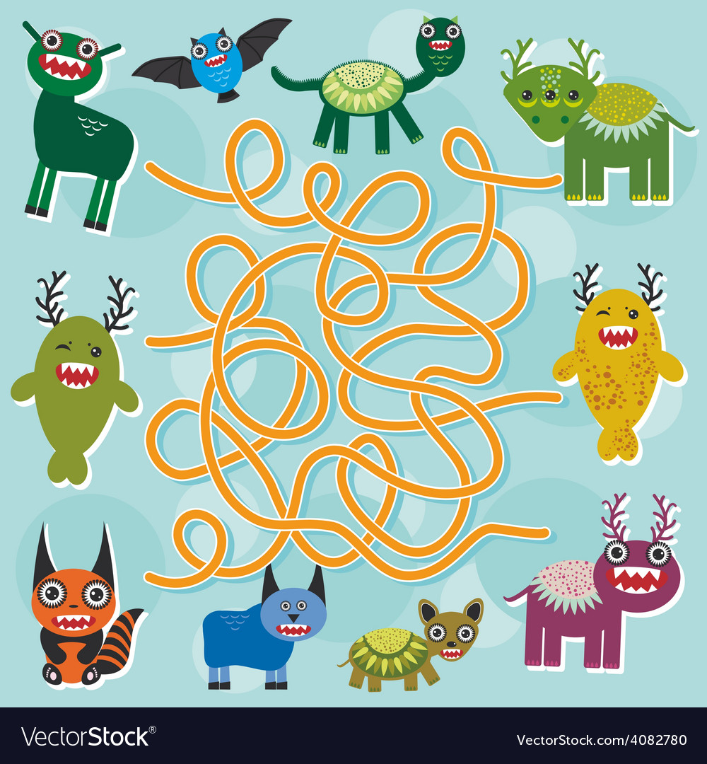 Cute cartoon monster labyrinth game for preschool vector | Price: 1 Credit (USD $1)