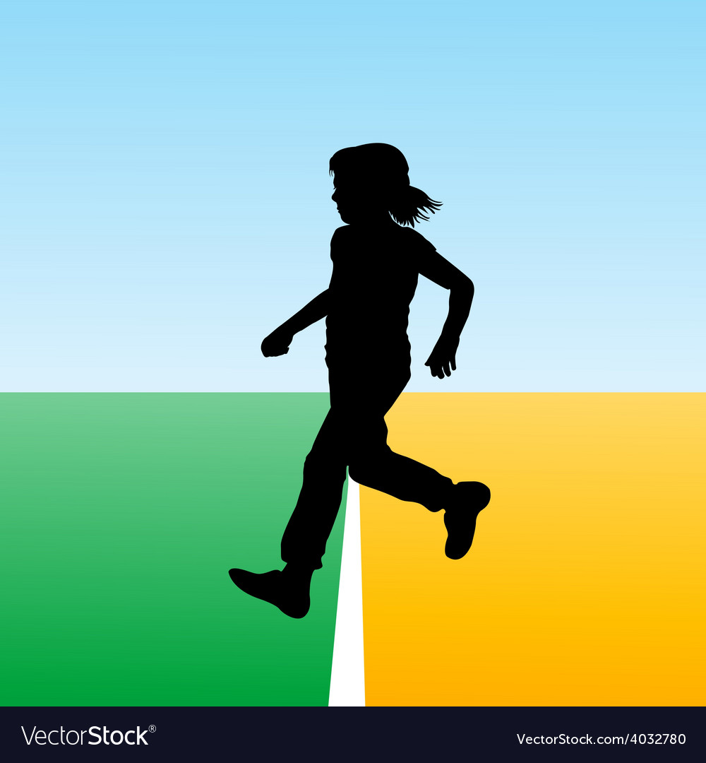 Girl crossing the finish line concept for new begi vector | Price: 1 Credit (USD $1)