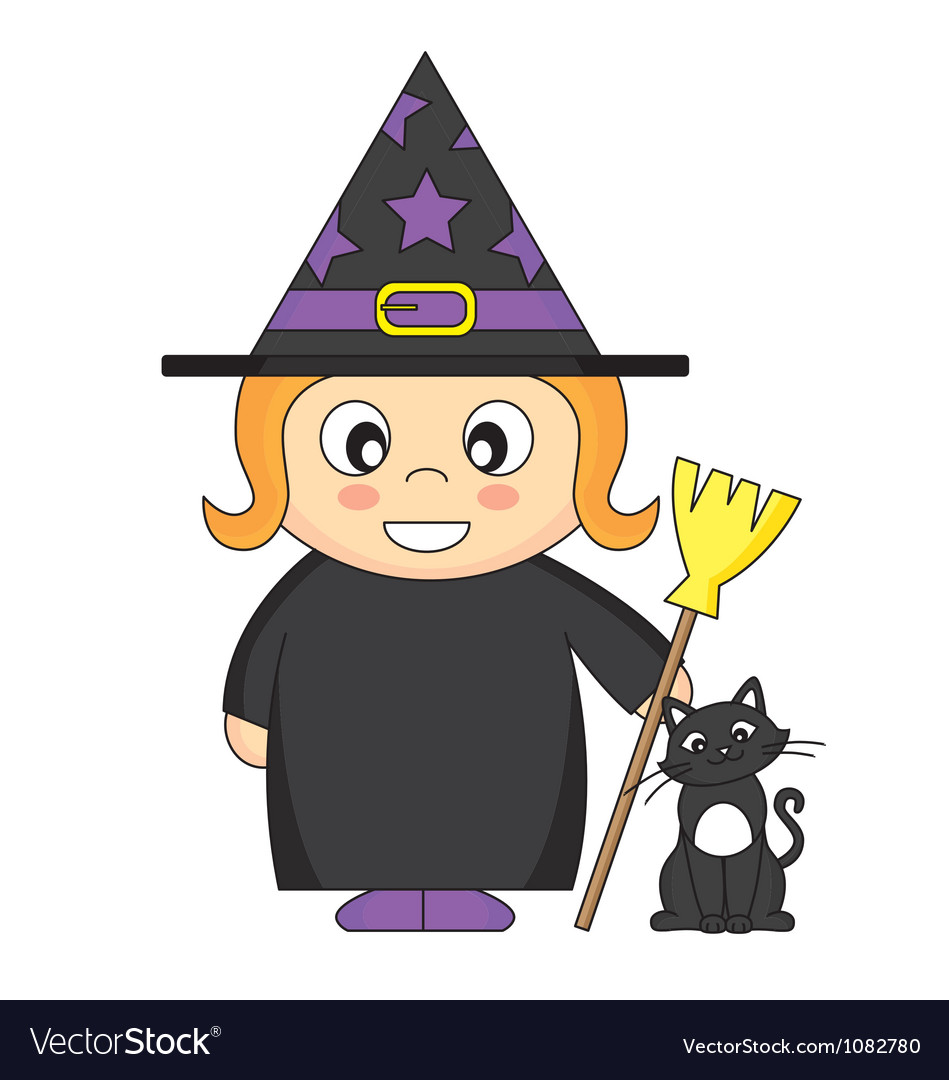 Girl dressed as witch vector | Price: 1 Credit (USD $1)