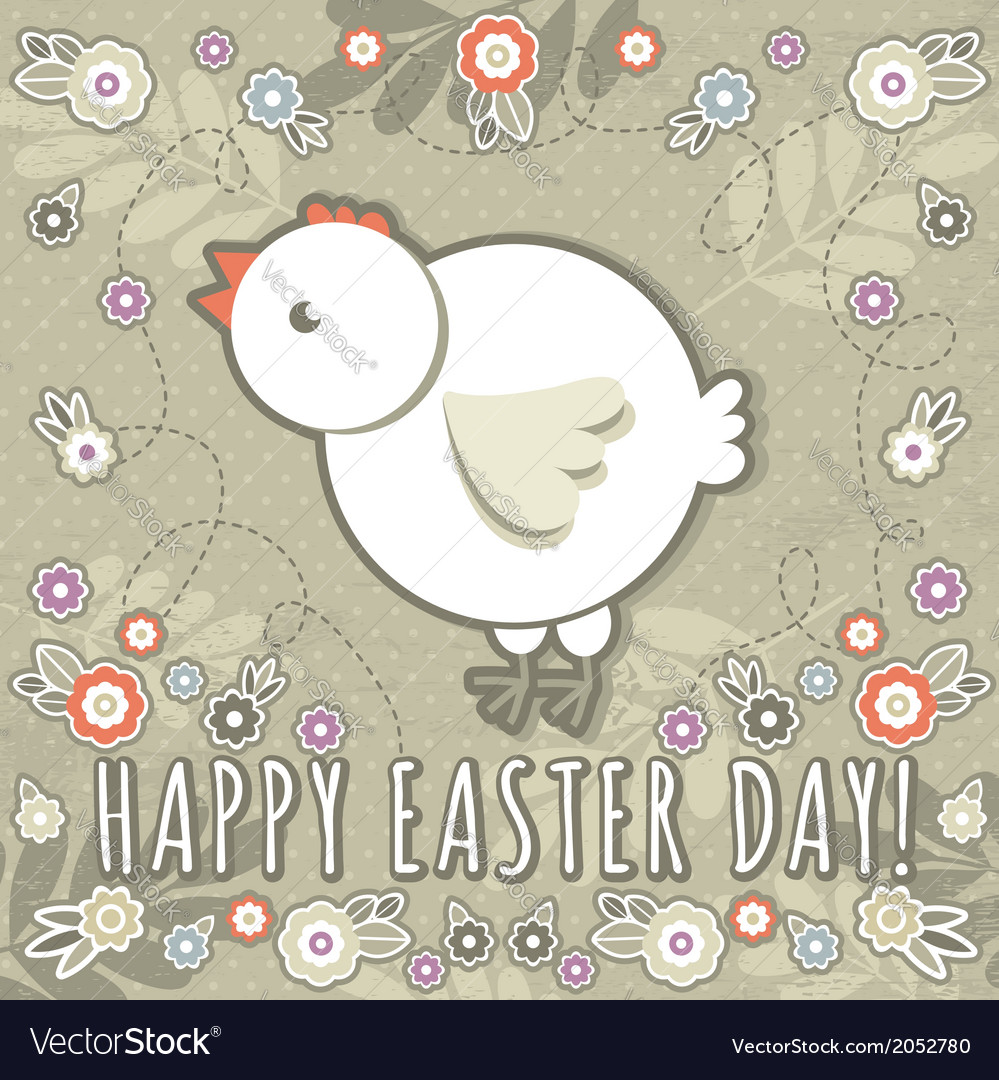 Greetings card with easter eggs and one chicken vector | Price: 1 Credit (USD $1)